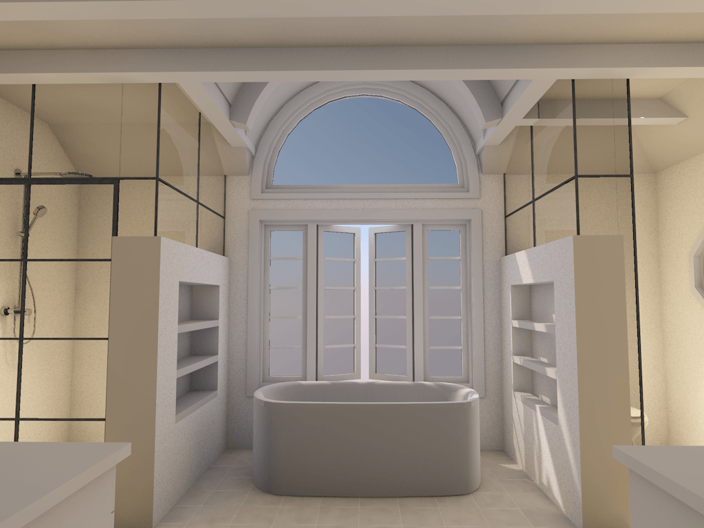 bathroom renovation into spa retreat rendering