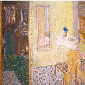 Pierre Bonnard painting depicts wife in the bathroom.