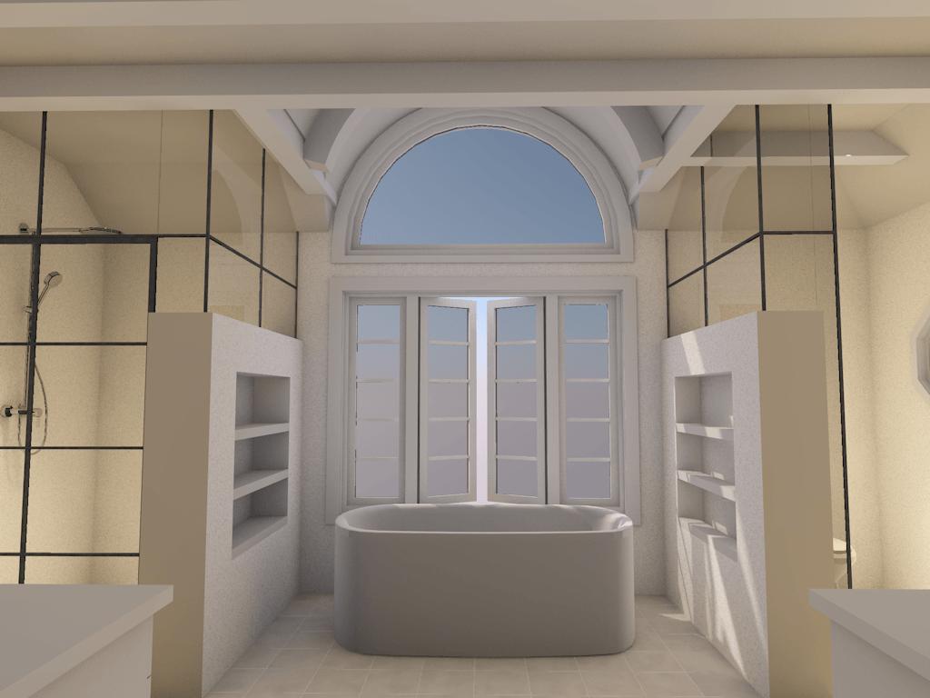 bathroom renovation into spa retreat rendering