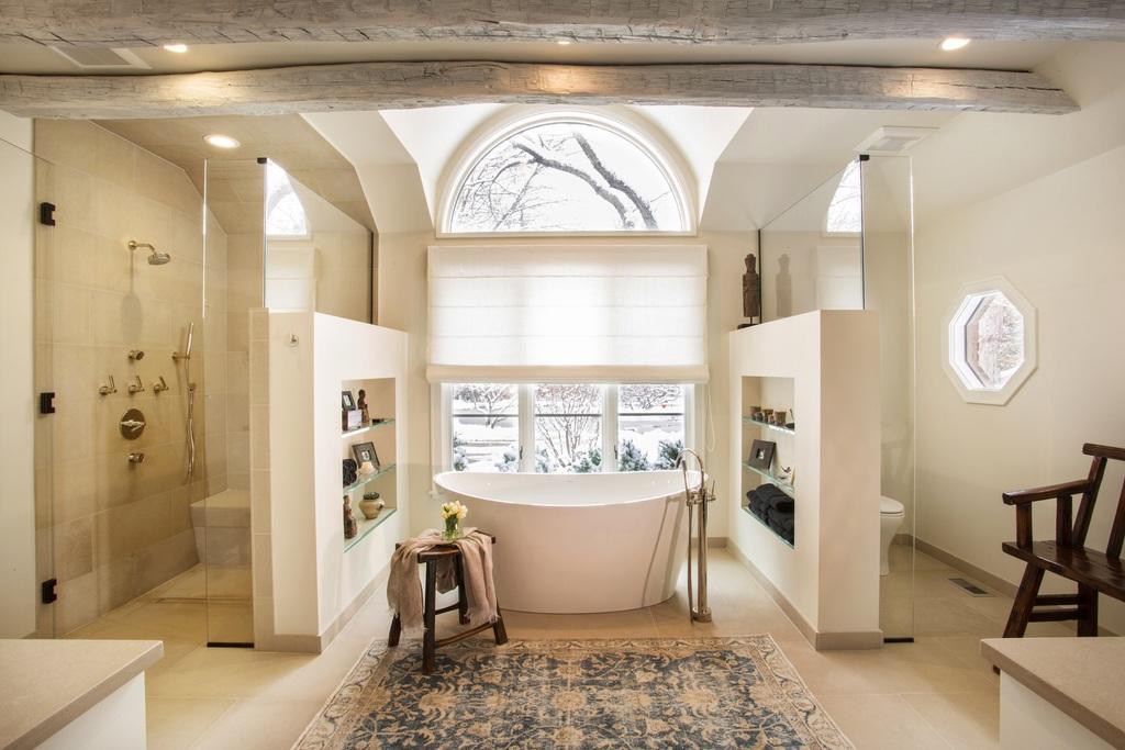 master bathroom transformed into rustic spa retreat