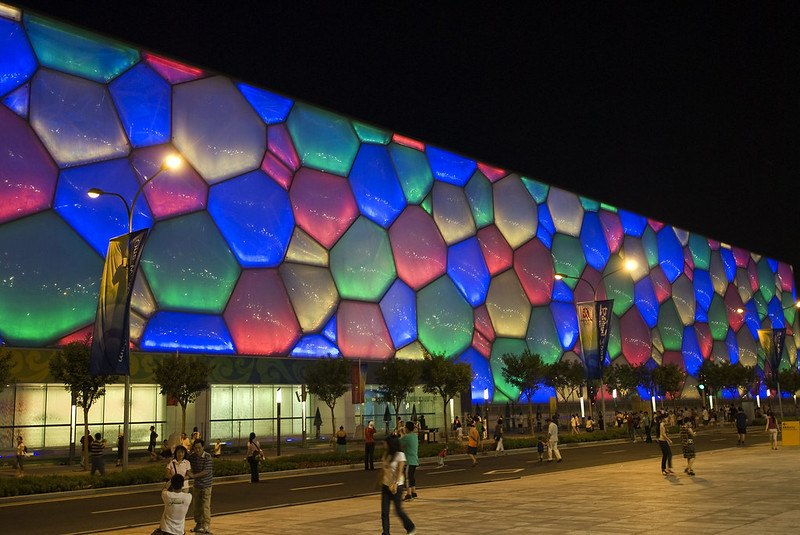 "Beijing National Aquatics Center (""Water Cube""). Image by Craig Maccubbin / Flickr: https://www.flickr.com/photos/cmaccubbin/2861458124/in/photolist-4HQtpD-5mRHNU-pDZLe-pDZM1-5gBz1w-pDZKQ-pDZKf-fSwdPE-6EY9KN-7cLStP-5evPbU-4GMtU1-fSwdRo-fSwdQm-fSwdQ1-fSwdRd-7PuMnC-PGBzt-9APove-fSwdNY-5hDWXz-5i1uuW-HNJfz2-5h2TUU-5ktxVi-pDZLA-pDZKs-pDZJL-7j7Xa6-7wboVb-7wbqF7-7w7AGr-5eZfA3-7EvC4x-9EanMV-9EdgcG-9EanDi-a7WmcY-a7WpTQ-6hJucL-7fsmsD-7cQHzU-5evNms-b4yXSR-5SaGyX-oDtC1u"